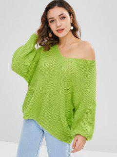 Drop Shoulder Skew Neck Loose Sweater - Tea Green