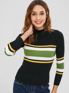 Slimming Stripes Ribbed Sweater - Multi