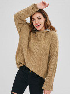 Oversized Hooded Cable Knit Sweater - Camel Brown