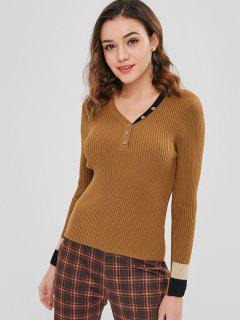 V Neck Half Buttoned Sweater - Dark Goldenrod