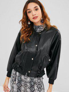Faux Leather Drop Shoulder Jacket - Black M