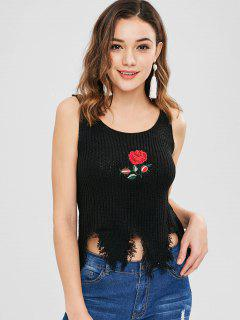 Floral Embroidered Frayed Sleeveless Sweater - Black
