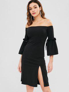 Bell Sleeve Off Shoulder Slit Dress - Black L