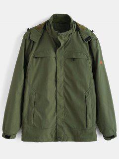 Solid Zip Windbreaker Jacket - Army Green 2xl