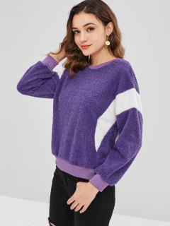 Color Block Fluffy Casual Sweatshirt - Purple