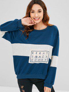 Color Block Loose Graphic Sweatshirt - Multi L