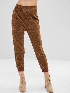 Botones De Pana Pantalones Jogger - Color De Madera L
