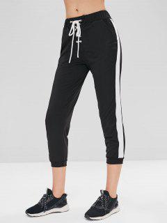 Side Stripe Lace Up Joggers Pants - Black Xl