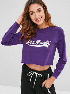 Letter Crop T-shirt - Purple