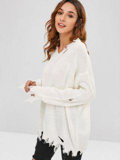 Frayed Hem Ripped Tunic Sweater - White