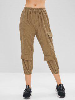 Cargo Corduroy Joggers Pants - Camel Brown