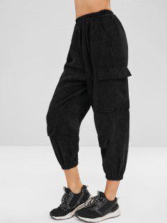Cargo Corduroy Joggers Pants - Black