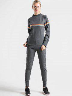 Colorful Stripes Sweatshirt And Pants Set - Gray M