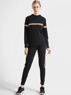 Colorful Stripes Sweatshirt And Pants Set - Black L
