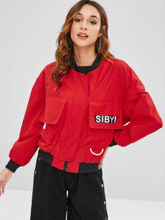 Zipper Pockets Bomber Jacket - Red M