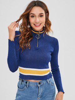 Shiny Stripes Half Zip Sweater - Deep Blue