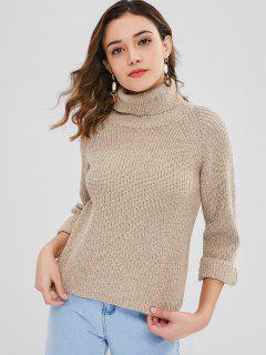 High Low Turtleneck Heathered Sweater - Tan