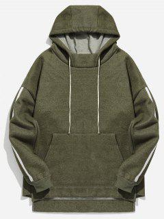 Dropped Shoulder Striped Pullover Hoodie - Army Green M