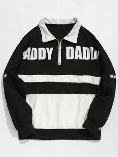 Contract Color Half Zip Embellished Sweatshirt - Black Xl