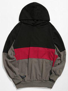 Long Sleeves Color Block Pullover Hoodie - Black 2xl