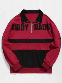 Contract Color Half Zip Embellished Sweatshirt - Red Wine L