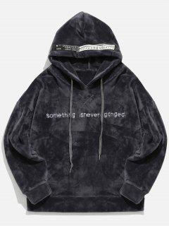 Pullover Letter Printed Velvet Hoodie - Carbon Gray 2xl