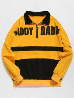 Contract Color Half Zip Embellished Sweatshirt - Bright Yellow L