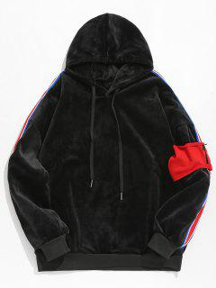 Striped Spliced Pullover Velvet Hoodie - Black L
