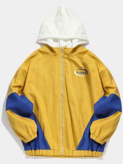Color Block Hooded Zip Fly Jacket - Bee Yellow L