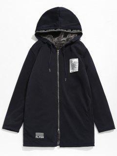 Applique Embellished Hooded Fleece Jacket - Dark Slate Blue L