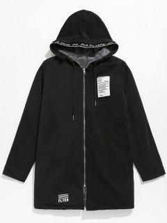 Applique Embellished Hooded Fleece Jacket - Black M