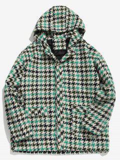 Manteau à Capuche Motif à Carreaux Boutonné En Laine - Vert Trèfle 2xl