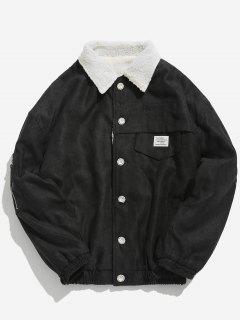 Button Fly Solid Color Fleece Jacket - Black Xl