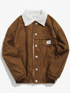 Button Fly Solid Color Fleece Jacket - Coffee M