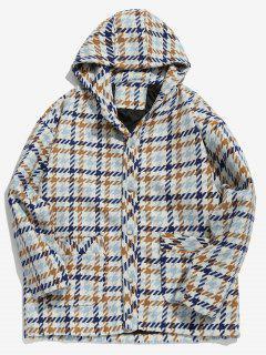 Button Up Plaid Pattern Hooded Woolen Coat - Navy Blue Xl