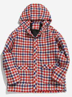 Button Up Plaid Pattern Hooded Woolen Coat - Red 2xl