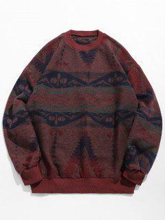 Ethnic Pattern Drop Shoulder Sweater - Red Wine Xl