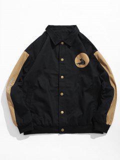 Color Block Animal Pattern Jacket - Black 2xl