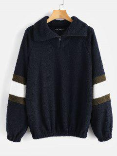 ZAFUL Textured Faux Fur Sweatshirt - Deep Blue L
