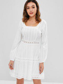 ZAFUL Crochet Panel Mini Flare Dress - Milk White S