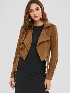 ZAFUL Asymmetric Zipper Belted Corduroy Jacket - Caramel M