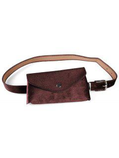 Solid Color Fanny Pack Belt Bag - Coffee