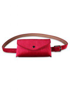Solid Color Fanny Pack Belt Bag - Red