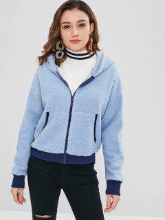 ZAFUL Fluffy Zip Up Teddy Hoodie - Jeans Blue S
