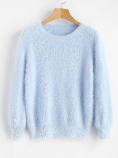 Kuscheliger Flauschiger Pullover - Himmelblau