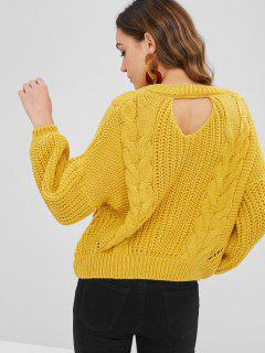 Cut Out Chunky Zopfstrickpullover - Helles Gelb
