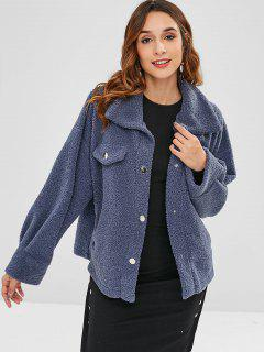 ZAFUL Faux Pockets Plain Faux Fur Coat - Slate Blue M