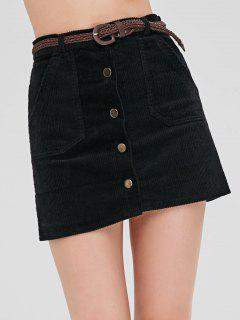 Button Up Corduroy Belted Skirt - Black S