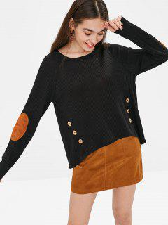 Elbow Buttoned High Low Sweater - Black Xl