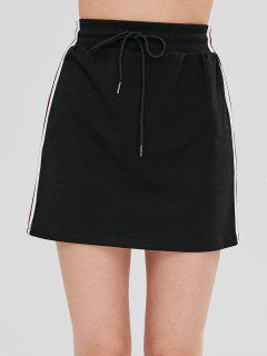 Stripes Panel A Line Mini Skirt - Black M